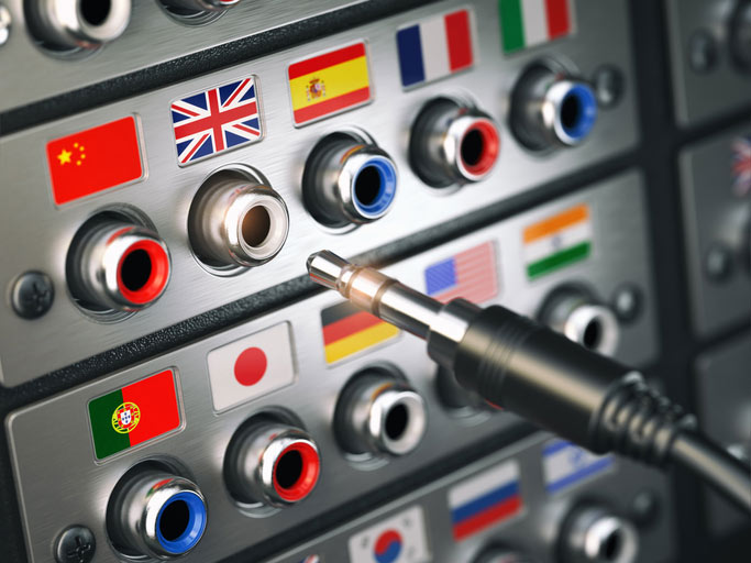 Image of a switchboard with country flags on connections
